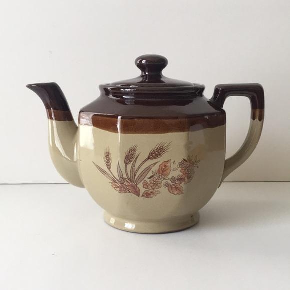 70s Glazed Teapot Wheat Motif Floral Cottagecore